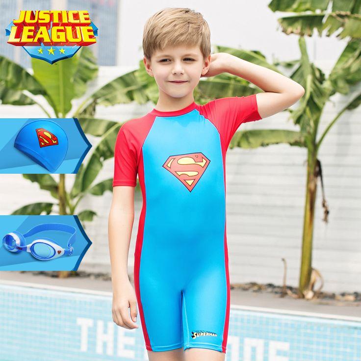Vatican children's one-piece swimsuit boys long sleeves sunscreen big children superman swimming trunks baby new swimwear