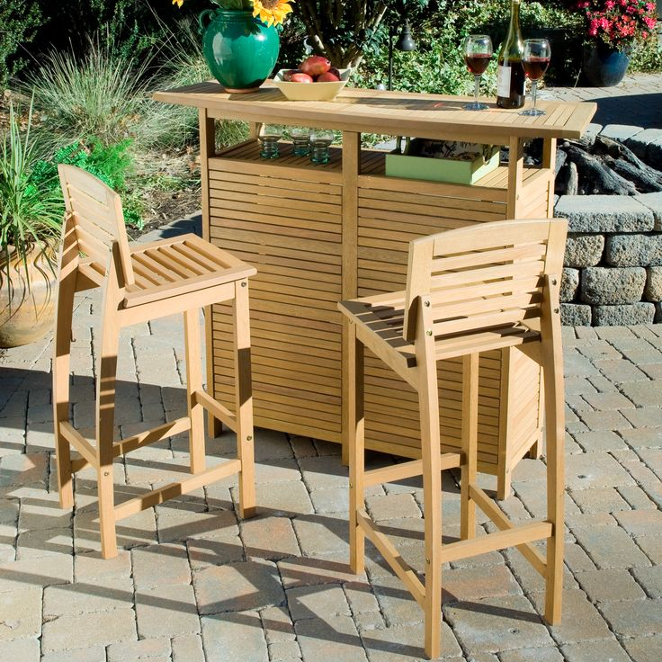 Add a touch of the tropics to your pool or outdoor dining area with this bar-style patio dining set. The teak finish of this three-piece set makes it naturally water resistant, and the subtle contour of the seating provides extra comfort.
