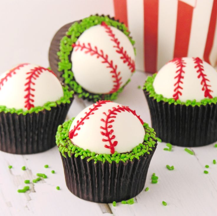 Baseball Cupcakes. Dense chocolate brownie cups topped with fudge and a dome of creamy peppermint topping! These baseball brownies are a perfect idea for Father's Day! Our day to celebrate dad is almost here! I…