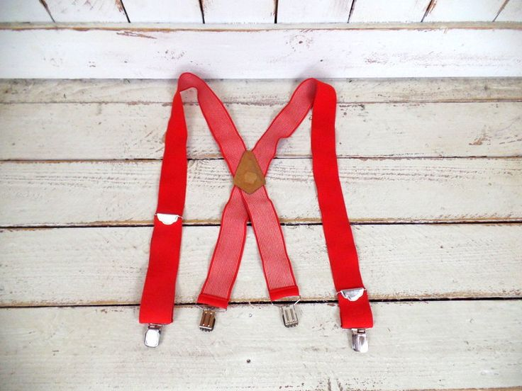 Vintage holiday wide red stretch clip suspenders/red braces/red lumberjack suspenders/Christmas/Santa Claus by GreenCanyonTradingCo on Etsy