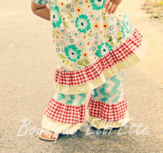 Girls Double Ruffle Pants Seaside Collection by BoutiqueElliEtte, $22.95