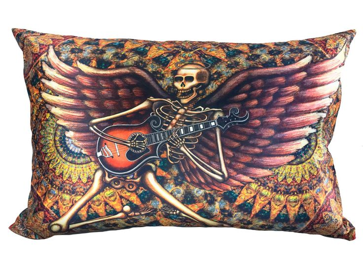 """Rock and Roll Skeleton Pillow Case Dan Morris. Beautiful full color artwork on cool satin fabric pillow case featuring the original artwork of artist, Dan Morris. Coordinates with other products available through Dan Morris Design, including accent pillows, tapestries, decals and prints. 20""""x30"""" Fits both Standard and Queen size Pillows - not included 2 Sided Design -Design on both sides. Pillow Case with hidden zipper enclosure. Exclusive copyrighted designs by Dan Morris Hand Wash Cold…"""