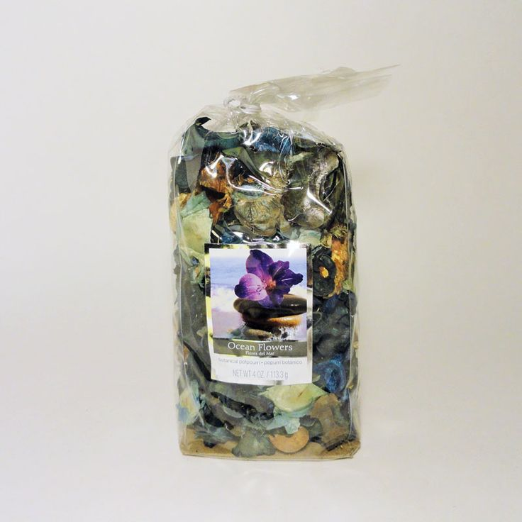 Bag of Ocean Flowers Scented Botanical Potpourri - SBP451 - Bag of ocean flowers scented botanical potpourri. Use with our electric scented tart / candle warmer combos. Simple fill the bowl with the potpourri and let the aroma fill the air. Or add potpourri to the bowl, cover with water, and plug in the combo. FOR SALE