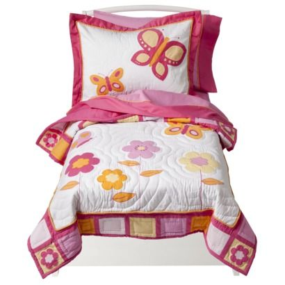 Sweet Jojo Designs Pink and Orange Butterfbeeely 5 pc. Toddler Bedding Set