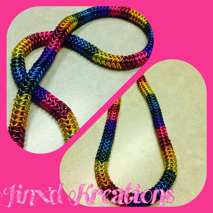 A personal favorite from my Etsy shop https://www.etsy.com/ca/listing/245485316/rainbow-chainmaille-necklace