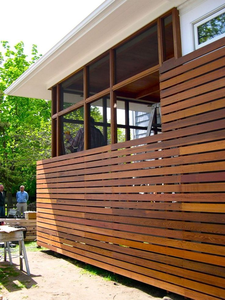 Instead of lattice work to conceal under open deck or for Townhouse deck privacy ideas