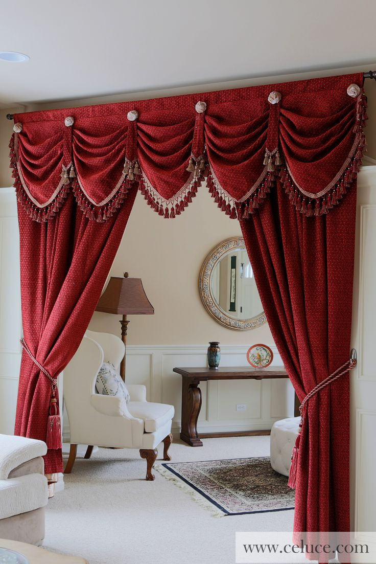 112 best images about classic curtains on pinterest for Red and gold drapes