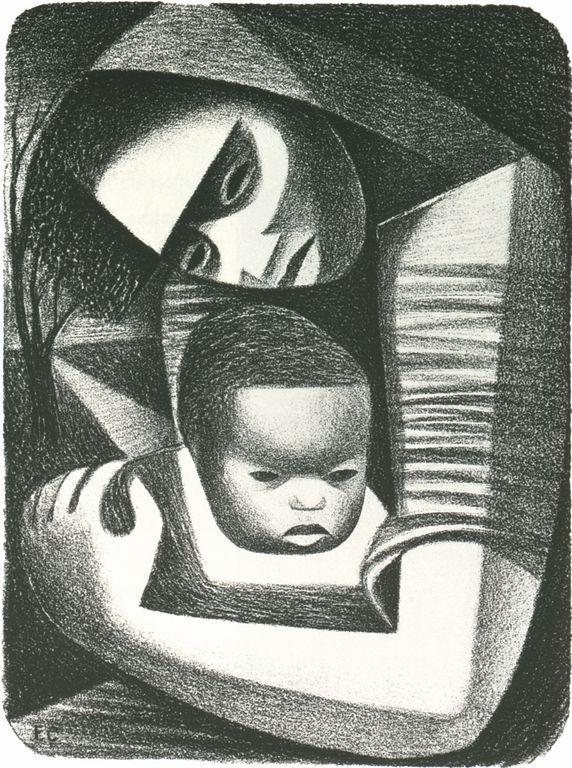 Elizabeth Catlett (1915-2012) was een Afrikaans-Amerikaanse graficus en beeldhouwer bekend om haar afbeeldingen van de Afro-Amerikaanse ervaring in de 20e eeuw. Het was moeilijk voor een zwarte vrouw in deze tijd om een carrière als een werkende kunstenaar te hebben. Haar werk is een mix van abstract en figuratief in de moderne traditie, met invloeden van Afrikaanse en Mexicaanse kunst.