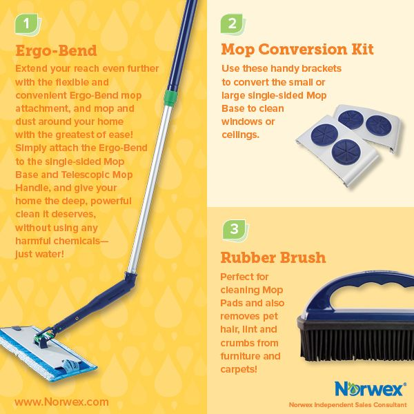 Norwex Ergo Bend, Mop Conversion Kit, Rubber Brush. For Facebook parties, online events and marketing.