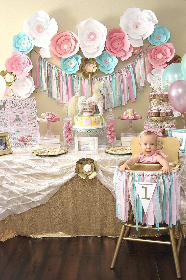 A Pink & Gold Carousel 1st Birthday Party in 2020