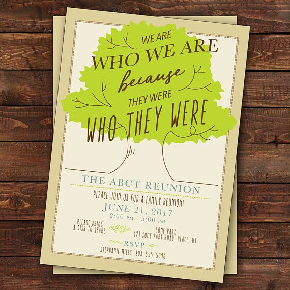 Family Reunion Invitation, Tree Family Reunion Invitation, Family Tree We Are Who We Are Because They Were Who They Were, Custom (Printable)