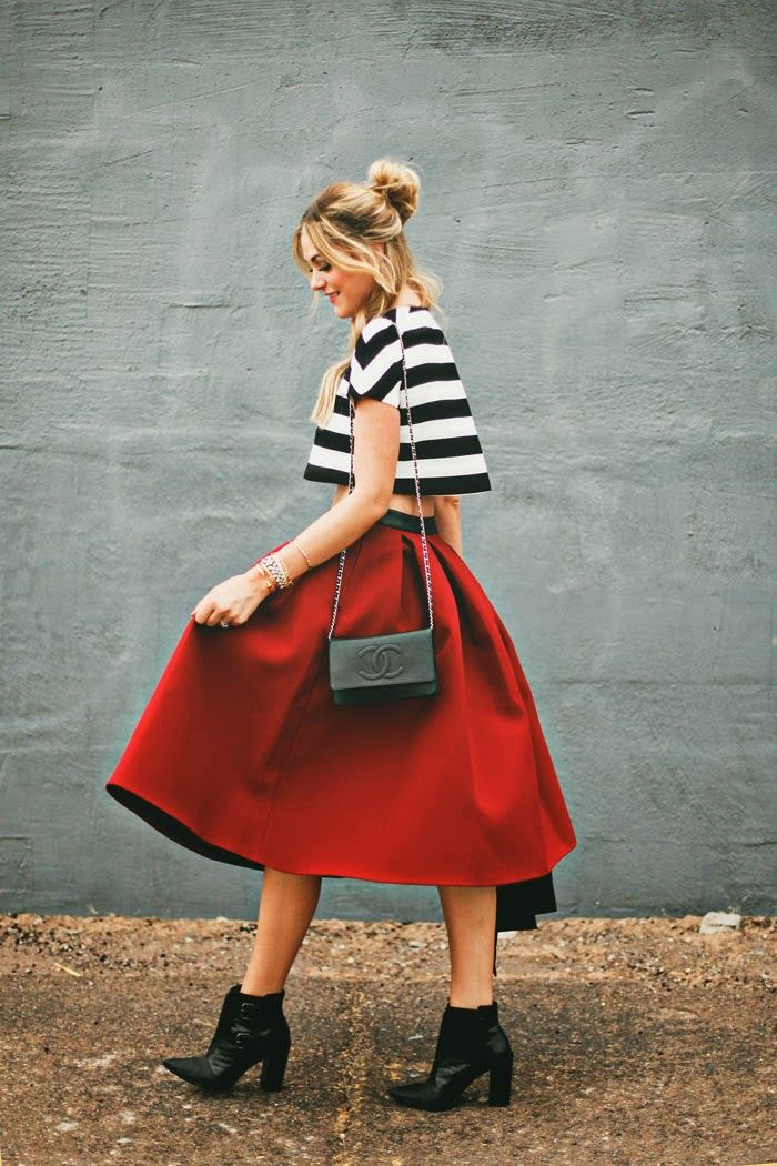 a full skirt and crop top.
