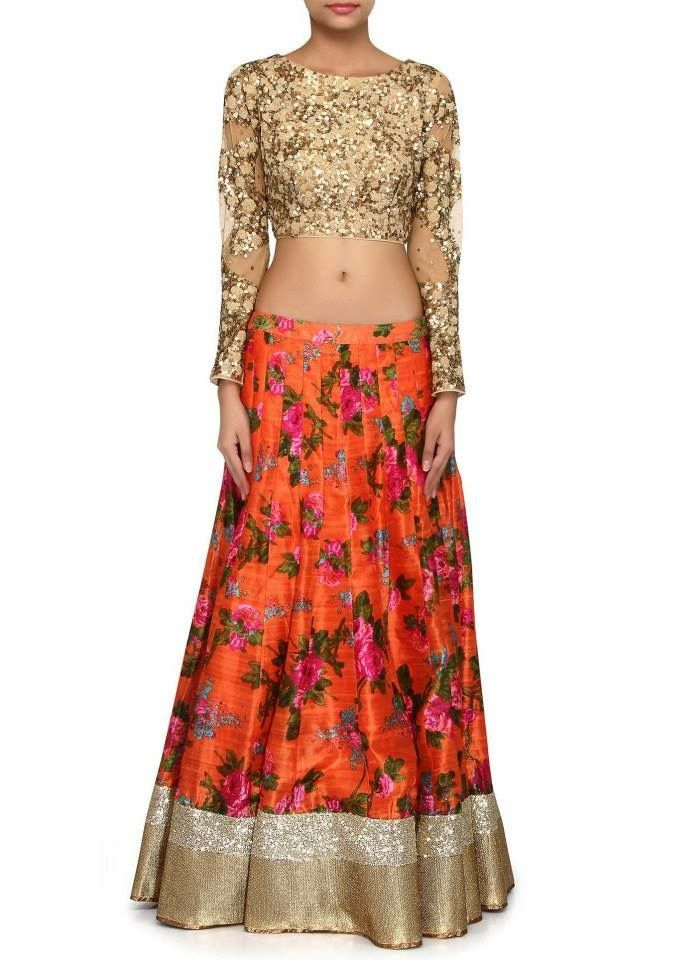 Printed Silk Lahenga with Sequence blouse. Get it at mytailor.in