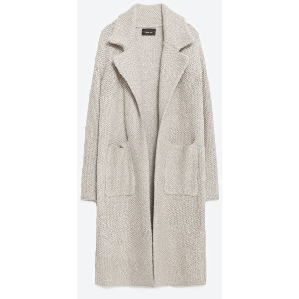 Zara Coat With Large Lapels ($129) ❤ liked on Polyvore featuring outerwear, coats, jackets, sand, lapel coat and zara coat