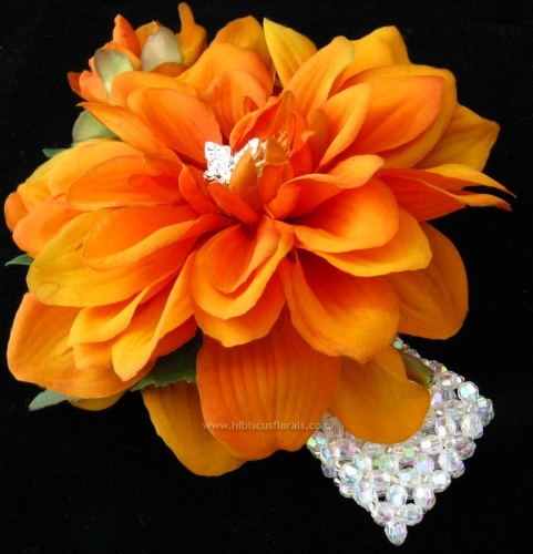 Rust Orange Dahlia Wrist Corsage with Wide Crystal Bracelet