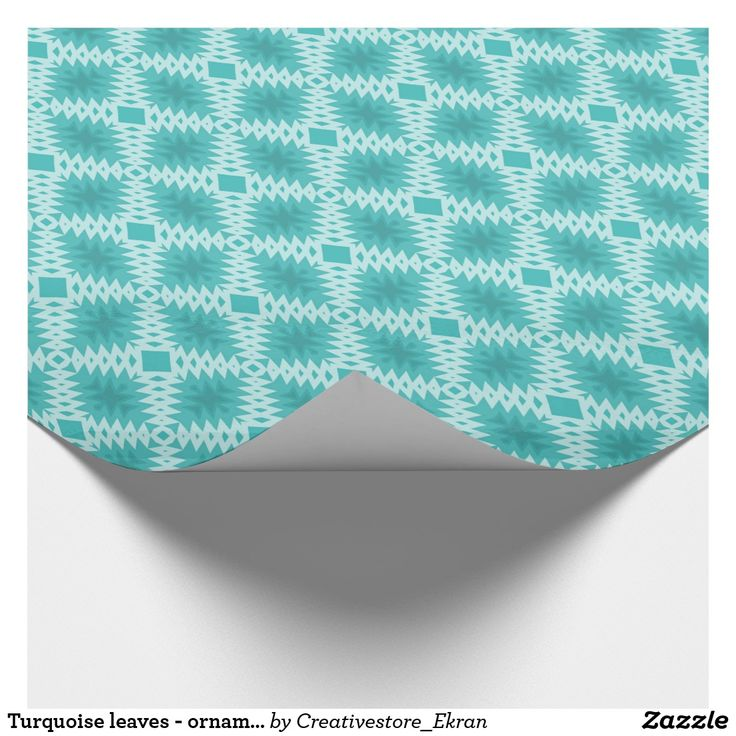 Turquoise leaves - ornament.Glossy Wrapping Paper
