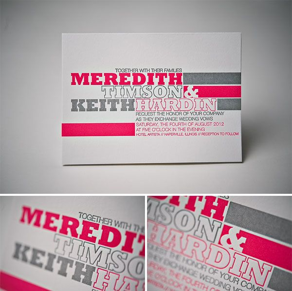 Modern Typography Letterpress Wedding Invitations by Jupiter and Juno