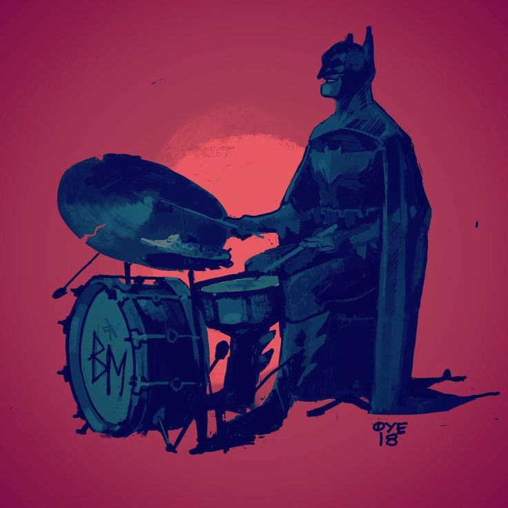 Batman playing drums! #batman #darkknight #dccomics #music #art #illustration #musician #jazz #drumming #drums #drumkit #superhero #gotham #Character #norway #trondheim #illustration #olekristianøye #øye #lynvingen