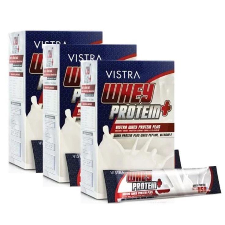 เล็งเห็นต่อ<SP>Vistra Whey Protein Plus วิสทร้า ผลิตภัณฑ์เสริมอาหาร นมเวย์โปรตีน รสวานิลลา (15 ซอง) 3 กล่อง++Vistra Whey Protein Plus วิสทร้า ผลิตภัณฑ์เสริมอาหาร นมเวย์โปรตีน รสวานิลลา (15 ซอง) 3 กล่อง ช่วยบำรุง และเสริมสร้างกล้ามเนื้อให้แข็งแรงช่วยบำรุงร่างกาย เสริมโปรตีน บำรุงและเสริมสร้างกล้ามเนื้อให้แข็ง ...++