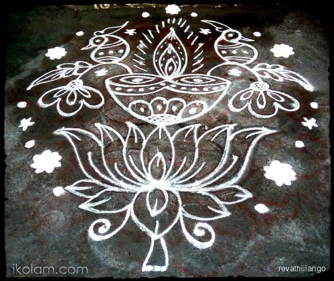 Rangoli Rev's lotus peacock deepam. 9 to 1 straight dots. | www.iKolam.com