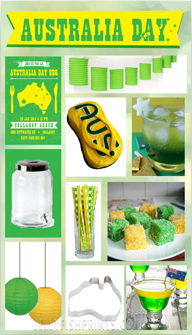 Australia Day Inspiration board for a #Green & #Gold party theme.   Food & decor ideas. Www.JellyfishPrints.com.au #USFSP
