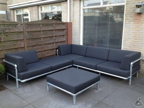 Sofa made with Kee Klamp pipe fittings.