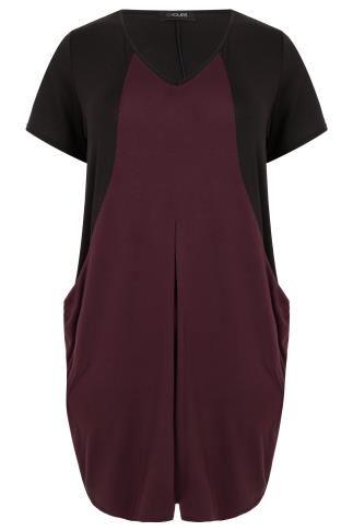 Black & Burgundy Colour Block V-Neck Swing Dress With Drape Pockets