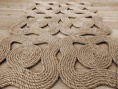 """Коврик """"Волны"""" - бежевый, ковер ручной работы, коврик из веревки, коврик из джута"""