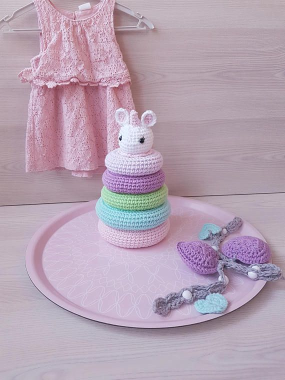 CROCHET pattern UNICORN stacking TOY baby toddler toy baby shower gift us crochet terms pdf