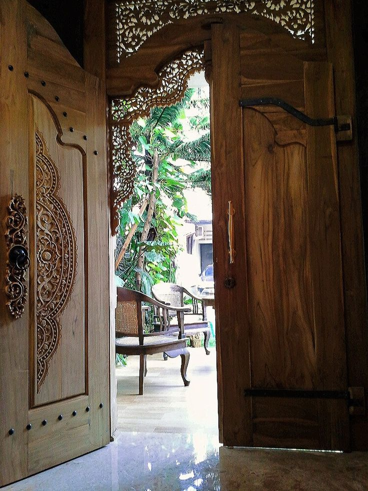 Gebyok is a Javanese traditional door and window, single or double side carved on old teakwood.  for sale ; start from US$ 3,600 ; 160 x 270 x 15 cm