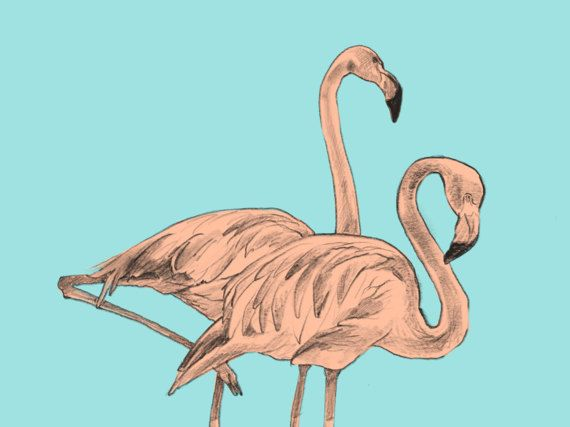 Modern Nursery Art - Flamingos - Printable Animal, Baby Girl Wall Decor by CubsandKids