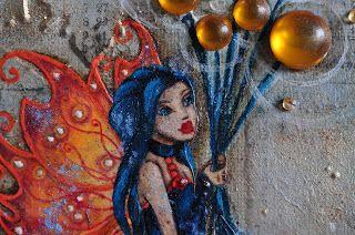 Fairy Dusk: Peinture mixed media originale sur toile : Fleur de tonnerre