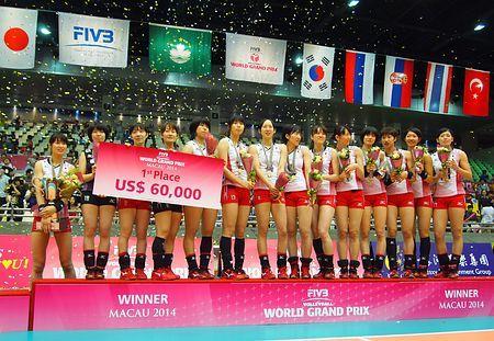 バレーボール女子のワールドグランプリ・マカオ大会で優勝し、表彰台に立つ木村主将(左端)ら日本選手=17日、マカオ ▼17Aug2014時事通信|日本、中国破り4連勝=バレー女子ワールドGP http://www.jiji.com/jc/zc?k=201408/2014081700194 #Japan_womens_national_volleyball_team