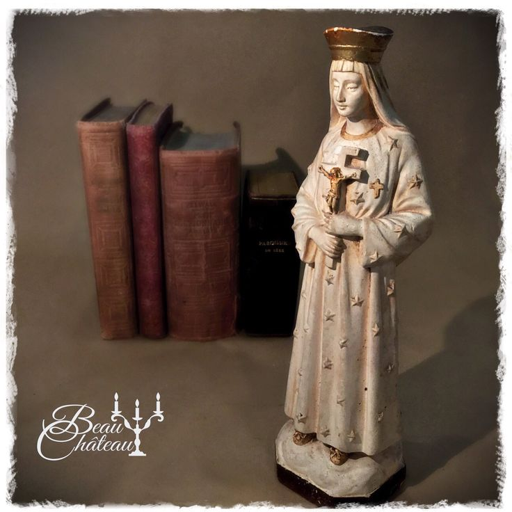 French Chalkware Statue of Our Lady of Pontmain, France.