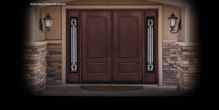 Mastergrain Rustic Collection Double Doors With Wrought Iron Sidelights Available At Www