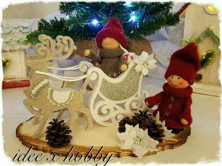 Decorazione Natale slitta feltro handmade - idee x hobby