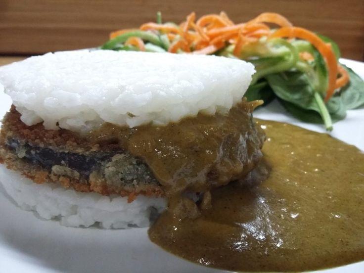 Aubergine katsu sushi burger