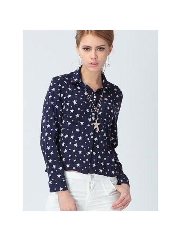 Women 8217 S Uniform Blouses Casual Long Sleeve Blue Fl Star Prints Lapel Blouse Woman Tie Lands End Womens Only