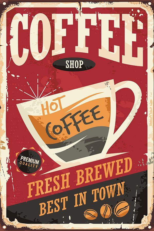 Coffee Vintage Poster Di 2020 Poster Retro Karya Seni Kopi Gambar Dinding