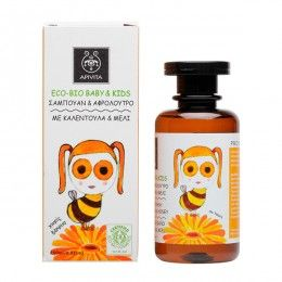 ECO BIO BABY KIDS Hair & Body Wash with calendula & honey. #GentleCleansing #NaturalHydration #Soothing Action #Relaxation Practical hair & body wash, ideal for everyday use and for the first months. It cleanses hair and body gently, while respecting the physiology of the baby-kid skin. Read more at www.apivita.com