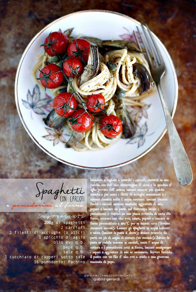 PANEDOLCEALCIOCCOLATO: Spaghetti con carciofi e pomodorini al forno