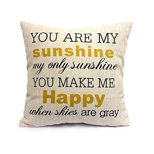 HOSL You Are My Sunshine Cotton Linen Pillow Cover, 17.3 x 17.3-Inch