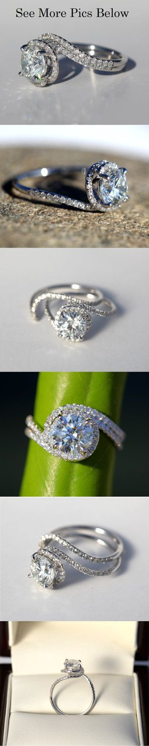 14k White gold – Diamond Engagement Ring – Halo – UNIQUE –  Thin Swirl – Pave – Weddings- Luxury- Brides. $2,500.00, via Etsy.