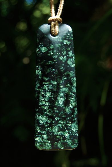 Blade pendant carved in serpentine by Gregor Boyd, Auckland, New Zealand.