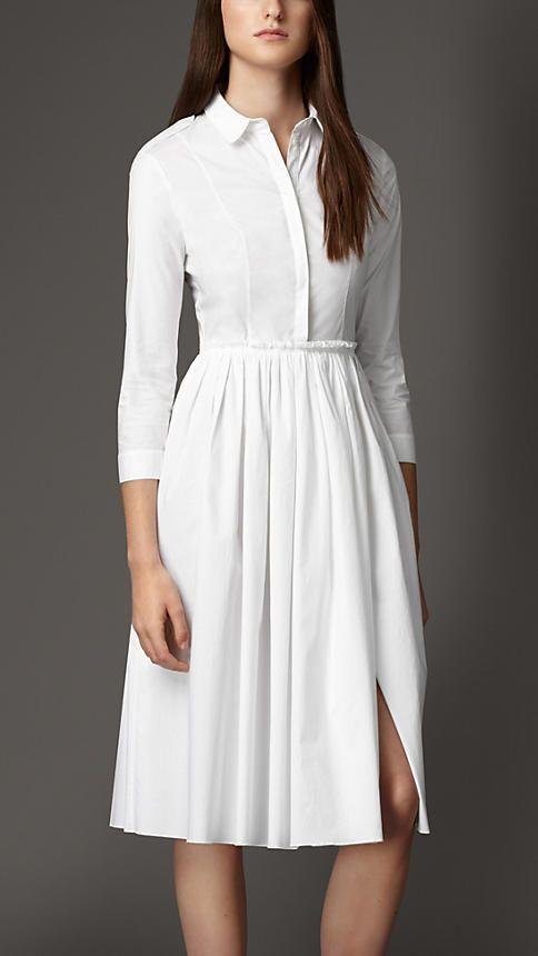 White Skirted Stretch-Cotton Shirt Dress - Image 1