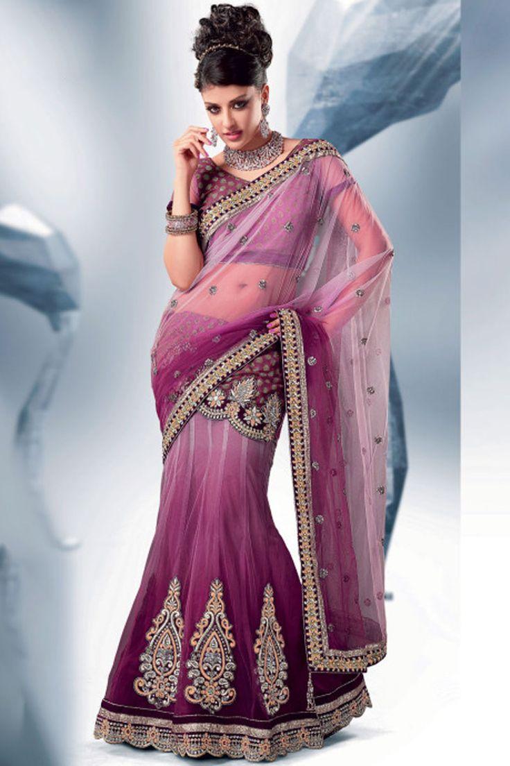 Byzantium Purple and Lavender Pink Net Lehenga Style Saree