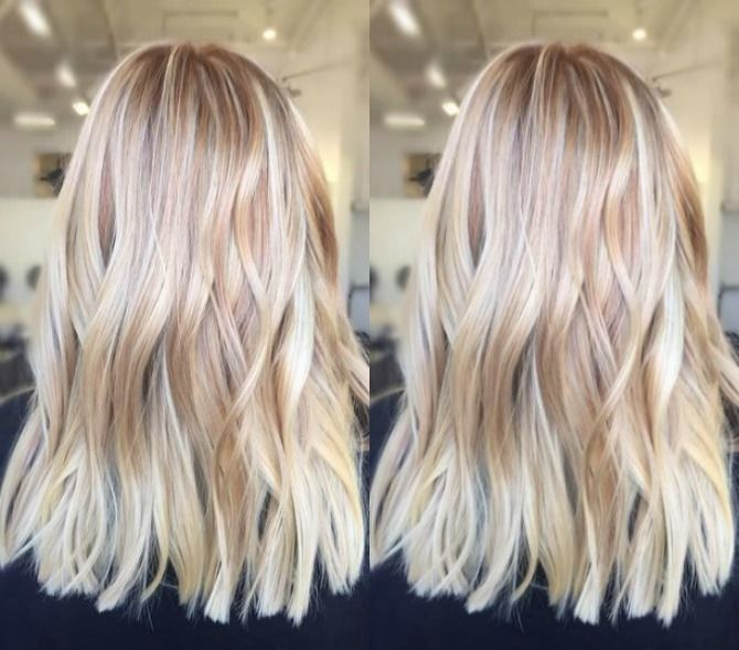 Bright Blonde Balayage Hair Color Ash Blonde Golden Blonde Icy