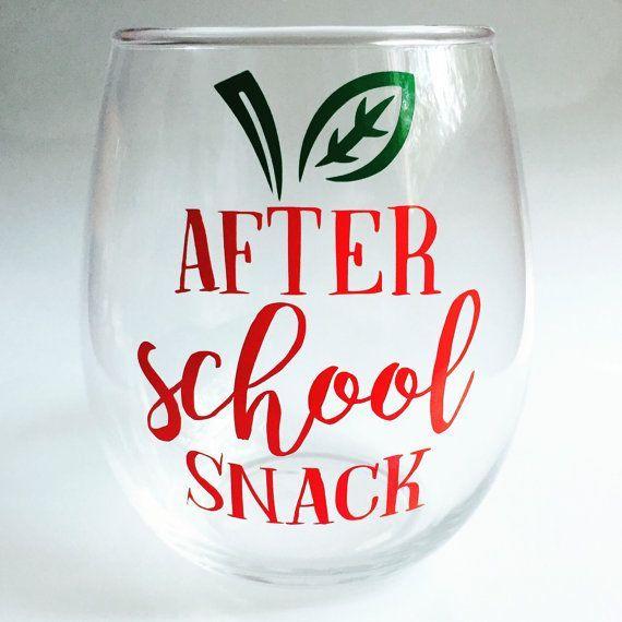 Teacher Stemless Wine Glass Gift - After School Snack - Gift for Teachers