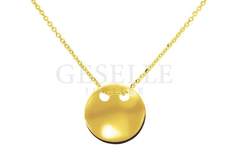 Ponadczasowy złoty łańcuszek z przywieszką - pastylką - modna celebrytka!   ZŁOTO \ Żółte złoto \ Komplety NA PREZENT \ Urodziny NA PREZENT \ Dzień Matki od GESELLE Jubiler