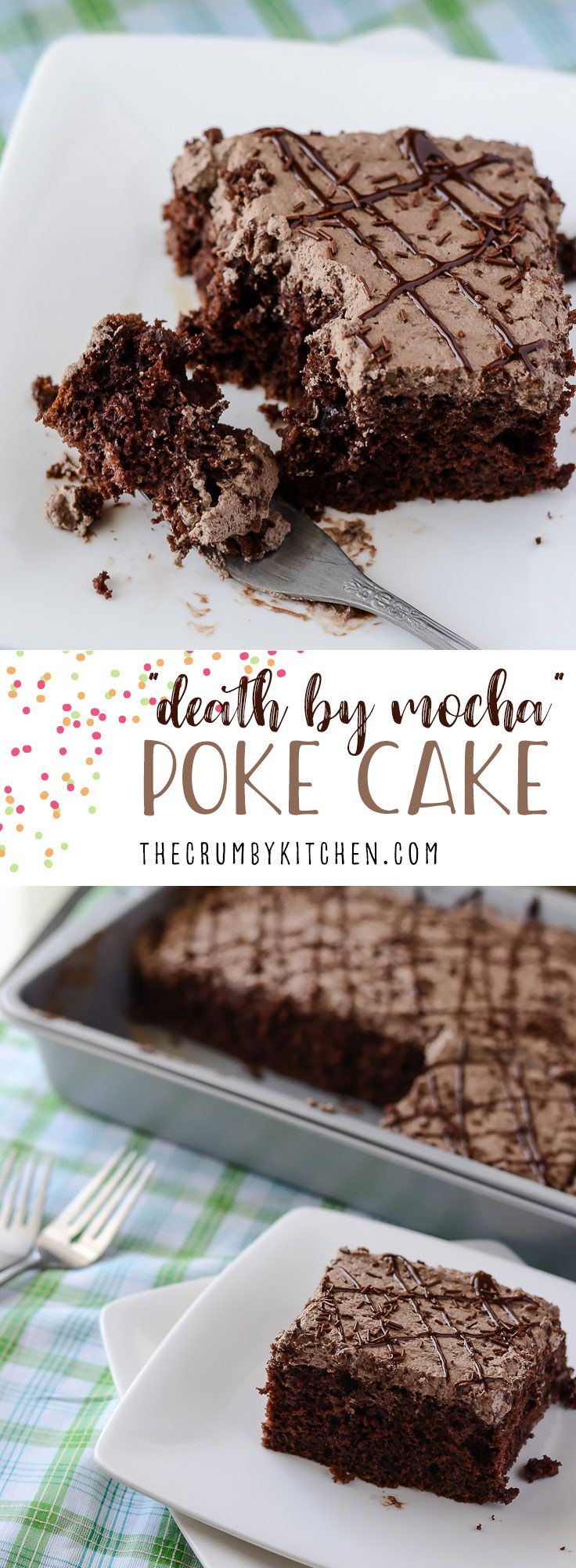 This Death By Mocha Poke Cake is a devilish little chocolate cake, infused and topped with Irish cream, vanilla bean, and the World's Strongest Coffee! #chocolate #cake #recipe #mocha #coffee #recipes #dessert #pokecake #irishcream